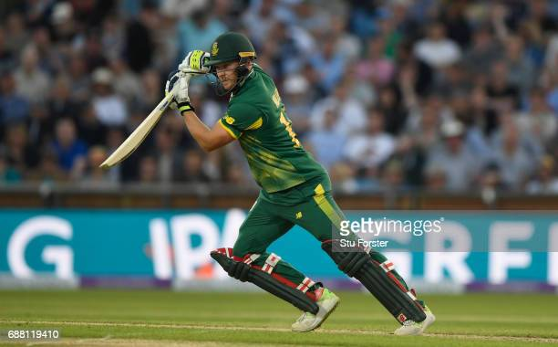 South Africa batsman David Miller hits out during the 1st Royal London One Day International match between England and South Aafrica at Headingley on...