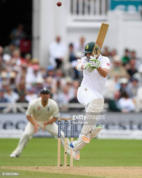 South Africa batsman Dean Elgar hooks a short ball from Stokes only to be caught for 80 runs during day three of the 2nd Investec Test match between...