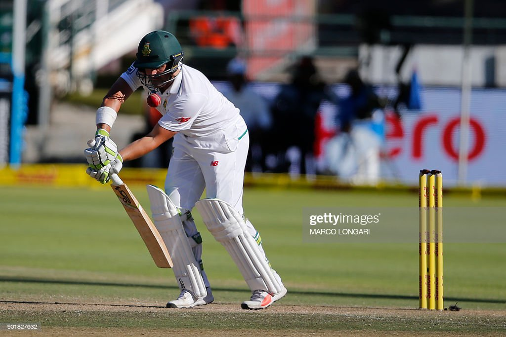 South Africa batsman Dean Elgar plays a shot during day two of the First Test between South Africa and India in Cape Town, on January 6, 2018. /