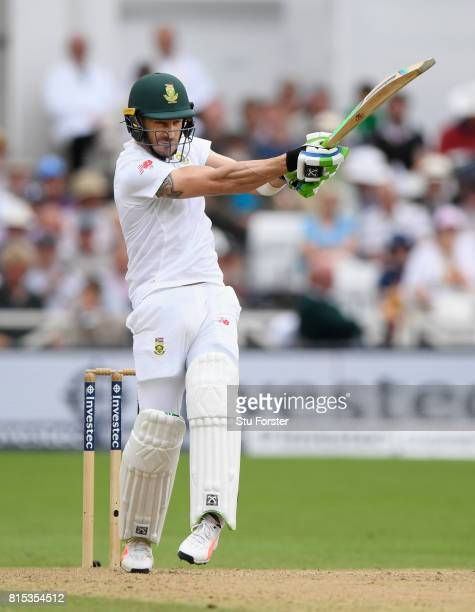South Africa batsman Faf du Plessis hits out during day three of the 2nd Investec Test match between England and South Africa at Trent Bridge on July...