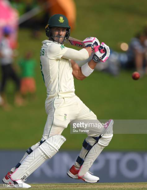 South Africa batsman Faf du Plessis hits out during Day Two of the First Test match between England and South Africa at SuperSport Park on December...