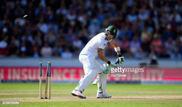 South Africa batsman Faf du Plessis is bowled by James Anderson during day two of the 4th Investec Test match between England and South Africa at Old...
