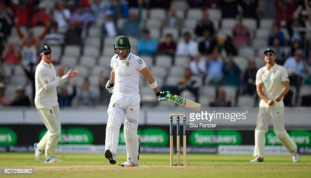 South Africa batsman Faf du Plessis reacts after being dismissed during day four of the 4th Investec Test match between England and South Africa at...
