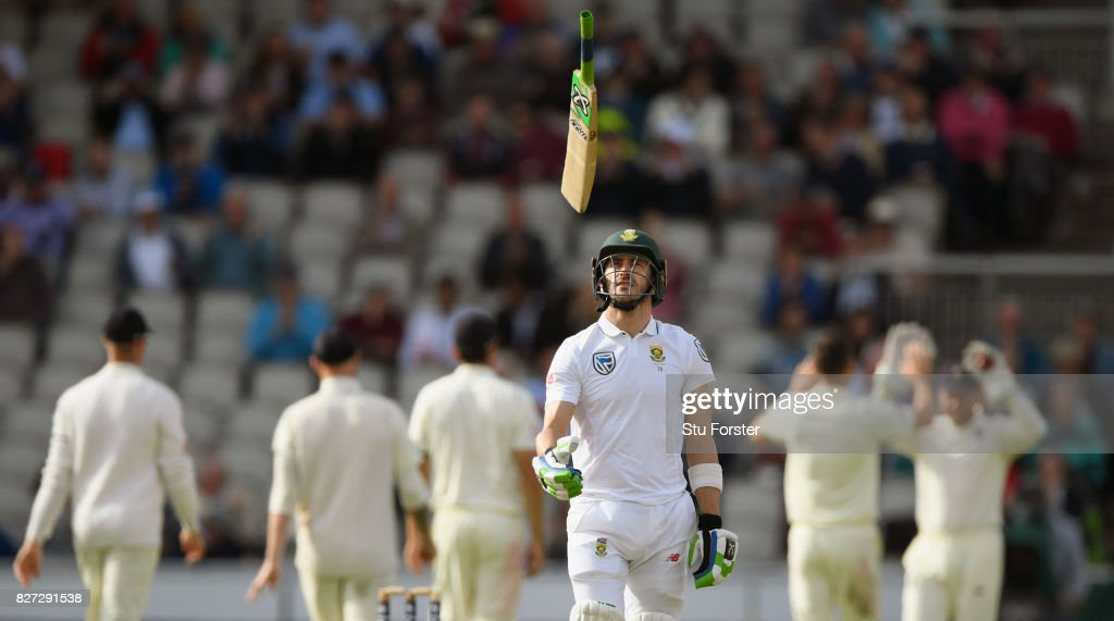 South Africa batsman Faf du Plessis reacts after being dismissed during day four of the 4th Investec Test match between England and South Africa at Old Trafford on August 7, 2017 in Manchester, England.