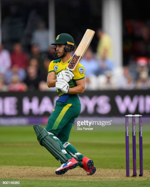 South Africa batsman Farhaan Behardien hits out during the 2nd NatWest T20 International between England and South Africa at The Cooper Associates...