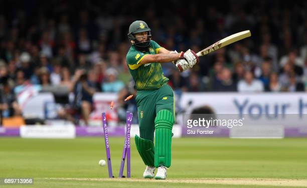 South Africa batsman Hashim Amla is bowled by Toby RolandJones for 55 runs during the 3rd Royal London Cup match between England and South Africa at...