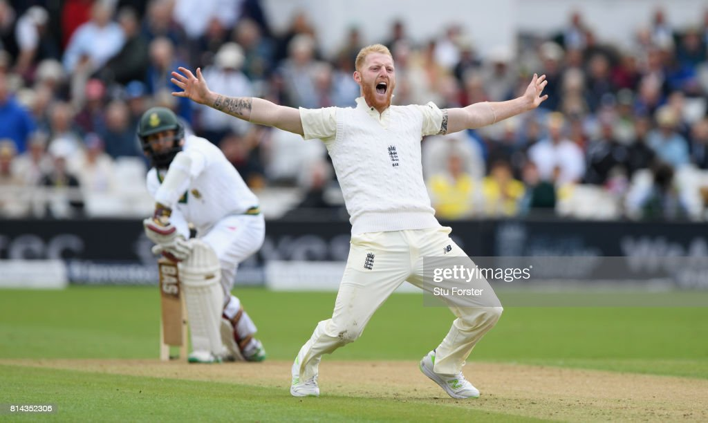 South Africa batsman Hashim Amla survives an lbw appeal by England bowler Ben Stokes which goes to the third umpire for referal during day one of the 2nd Investec Test match between England and South Africa at Trent Bridge on July 14, 2017 in Nottingham, England.