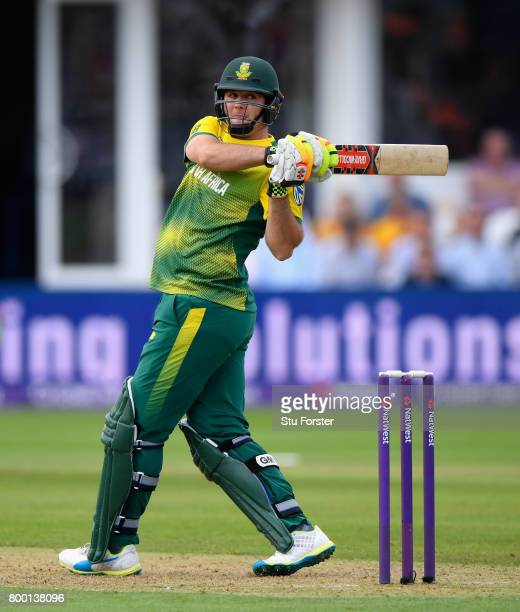 South Africa batsman JJ Smuts hits out during the 2nd NatWest T20 International between England and South Africa at The Cooper Associates County...