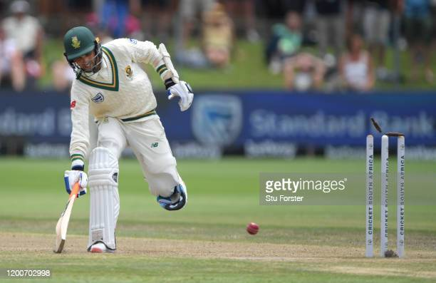 South Africa batsman Keshav Maharaj is run out by Sam Curran and England take the final wicket to win the Test Match during Day Five of the Third...