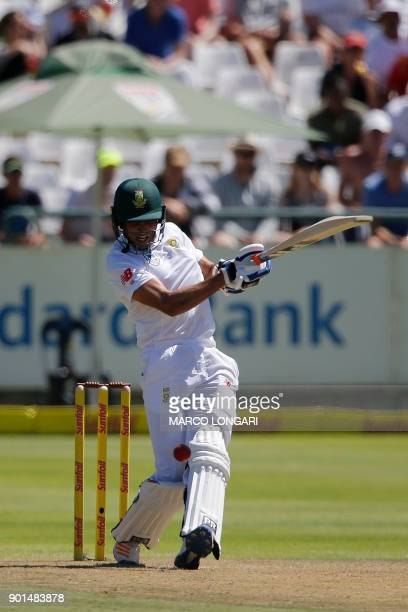 South Africa batsman Keshav Maharaj plays a shot during Day One of the cricket First Test match between South Africa and India in Cape Town on...