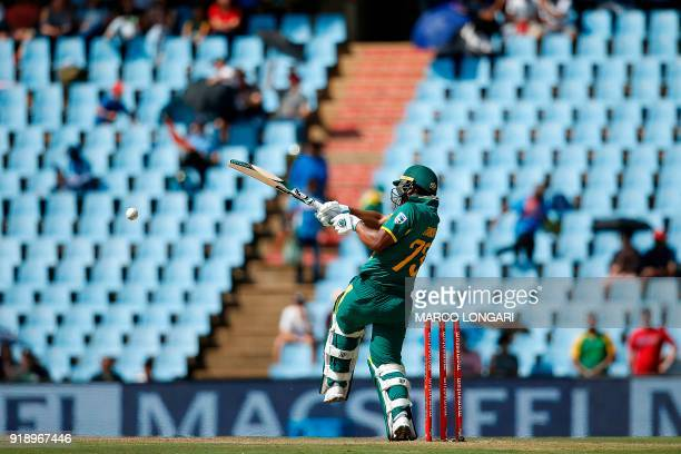 South Africa batsman Khaya Zondo hits a ball during the sixth One Day International cricket match between South Africa and India at the Super Sport...