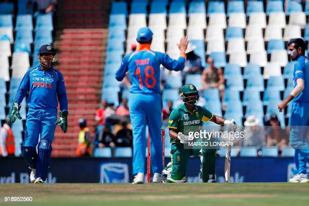 South Africa batsman Khaya Zondo knells after India bowler Yuzvendra Chahal unsuccessfully appealed for a wicked during the sixth One Day...
