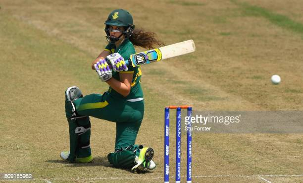 South Africa batsman Laura Wolvaardt hits out during the ICC Women's World Cup 2017 match between England and South Africa at The County Ground on...