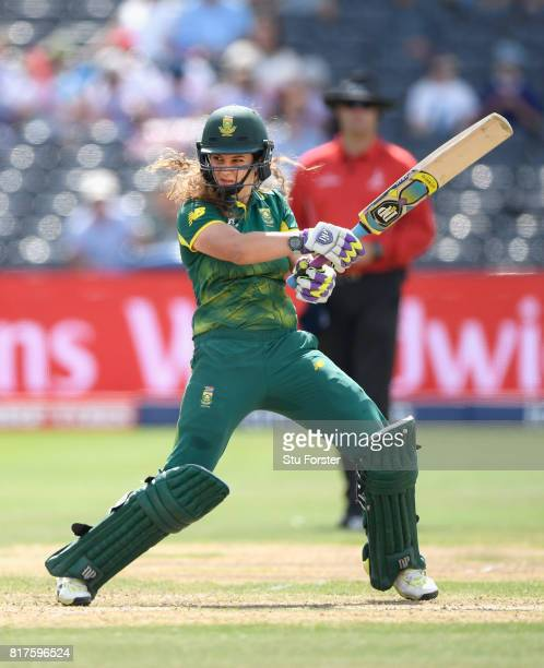 South Africa batsman Laura Wolvaardt hits out during the ICC Women's World Cup 2017 SemiFinal at The County Ground on July 18 2017 in Bristol England