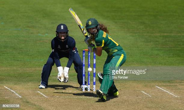 South Africa batsman Laura Wolvaardt hits out watched by Sarah Taylor during the ICC Women's World Cup 2017 match between England and South Africa at...