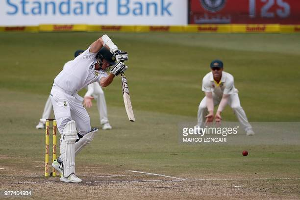 South Africa batsman Morne Morkel hits the ball during day five of the first Sunfoil Test between South Africa and Australia at the Kingsmead Stadium...