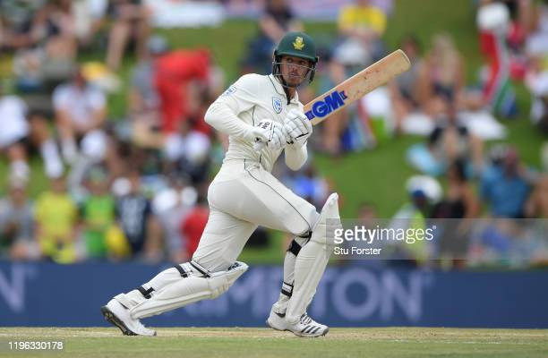 South Africa batsman Quinton de Kock hits out during Day Three of the First Test match between England and South Africa at SuperSport Park on...