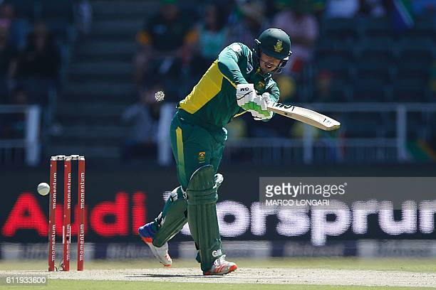 South Africa batsman Quinton De Kock plays a shot during the second One Day International cricket match Australia versus South Africa at the...
