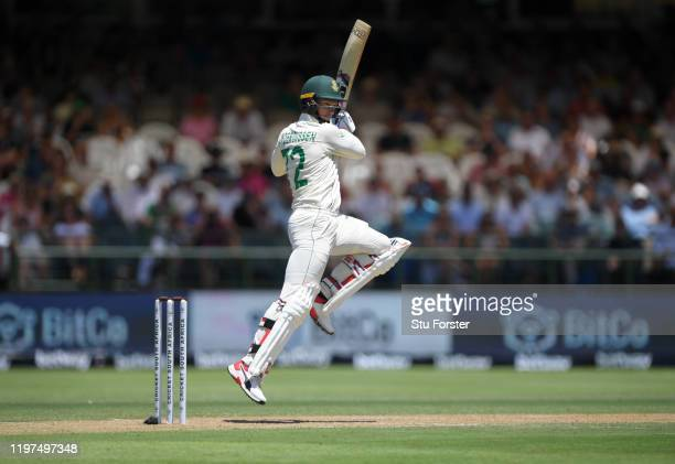 South Africa batsman Rassie van der Dussen cuts a ball towards the boundary during Day Two of the Second Test between South Africa and England at...