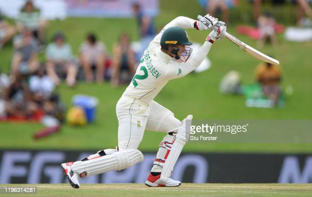 South Africa batsman Rassie van der Dussen drives for runs during Day Three of the First Test match between England and South Africa at SuperSport...