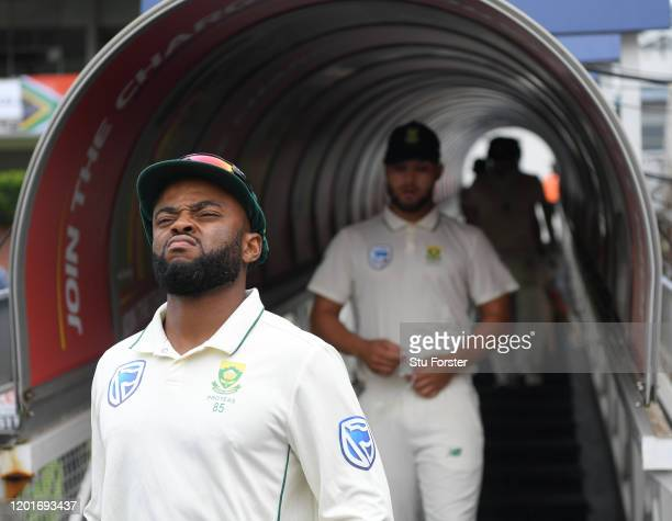 South Africa batsman Temba Bavuma comes out of the players tunnel before Day One of the Fourth Test between South Africa and England at The Wanderers...