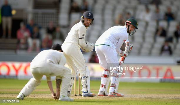 South Africa batsman Theunis de Bruyn is caught by Ben Stokes at slip as Jonny Bairstow looks on during day four of the 4th Investec Test match...