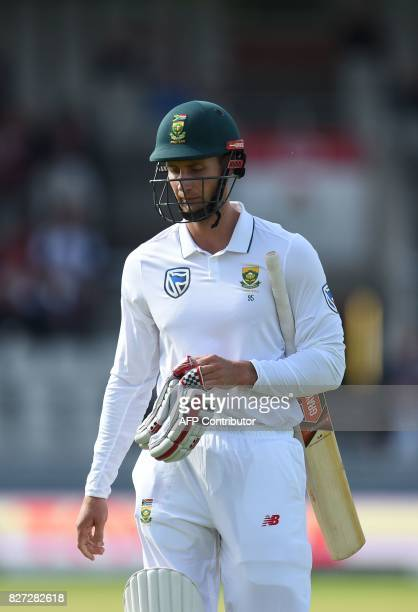 South Africa batsman Theunis de Bruyn leaves the pitch after being dismissed on day 4 of the fourth Test match between England and South Africa at...