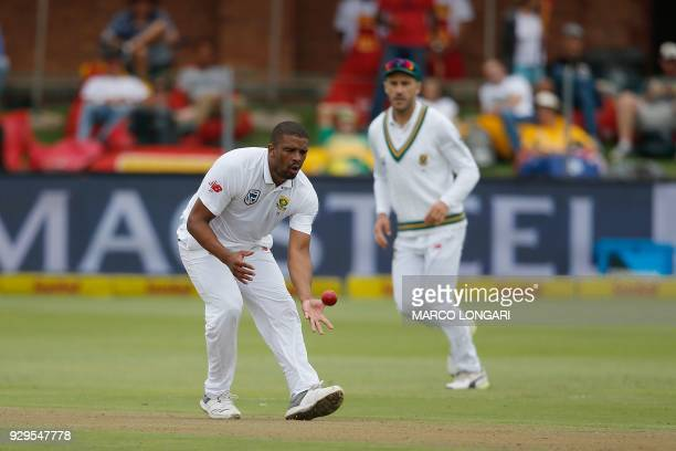 South Africa batsman Vernon Philander catches his own delivery during day one of the second Sunfoil Test between South Africa and Australia at St...