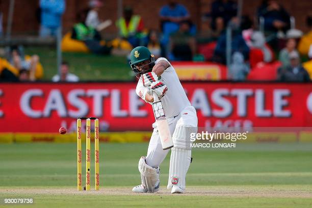 South Africa batsman Vernon Philander plays a shot during the second days' play of the second cricket Test match between South Africa and Australia...