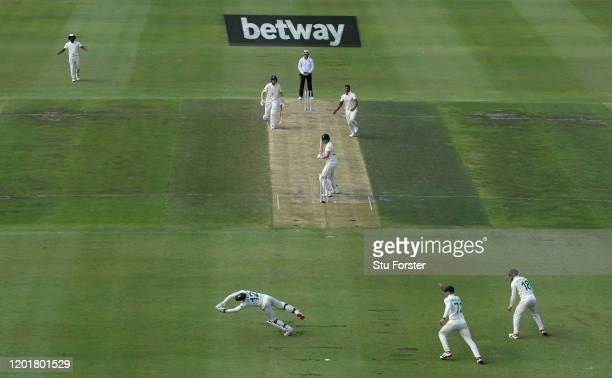 South Africa bowler Beuran Hendricks takes his maiden Test wicket of England batsman Dom Sibley caught by wicketkeeper Quinton de Kock during Day One...