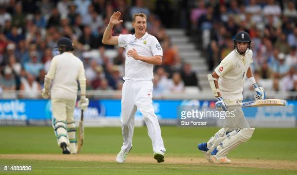 South Africa bowler Chris Morris appeals for the wicket of Stuart Broad which is given after a review during day two of the 2nd Investec Test match...