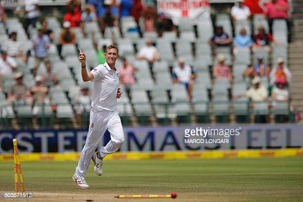 South Africa bowler Chris Morris celebrate having dismissed Englang batsman Joe Root during day five of the second Test match between South Africa...