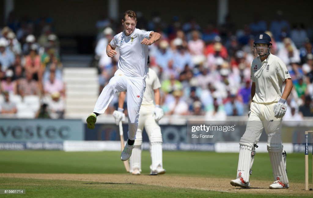 South Africa bowler Chris Morris celebrates after dismissing England batsman Alastair Cook during day four of the 2nd Investec Test match between England and South Africa at Trent Bridge on July 17, 2017 in Nottingham, England.