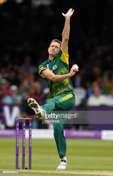 South Africa bowler Chris Morris in action during the 3rd Royal London Cup match between England and South Africa at Lord's Cricket Ground on May 29...