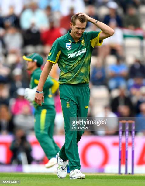 South Africa bowler Chris Morris reacts during the 2nd Royal London One Day International between England and South Africa at The Ageas Bowl on May...