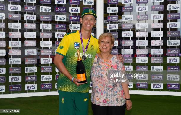 South Africa bowler Chris Morris with his man of the match award after the 2nd NatWest T20 International between England and South Africa at The...