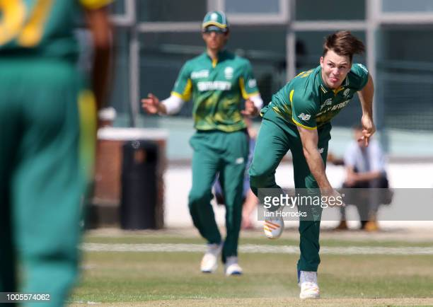 South Africa bowler Curtis Campher during the second ODI between England U19 and South Africa U19 at South Northumberland CC on July 26 2018 in...