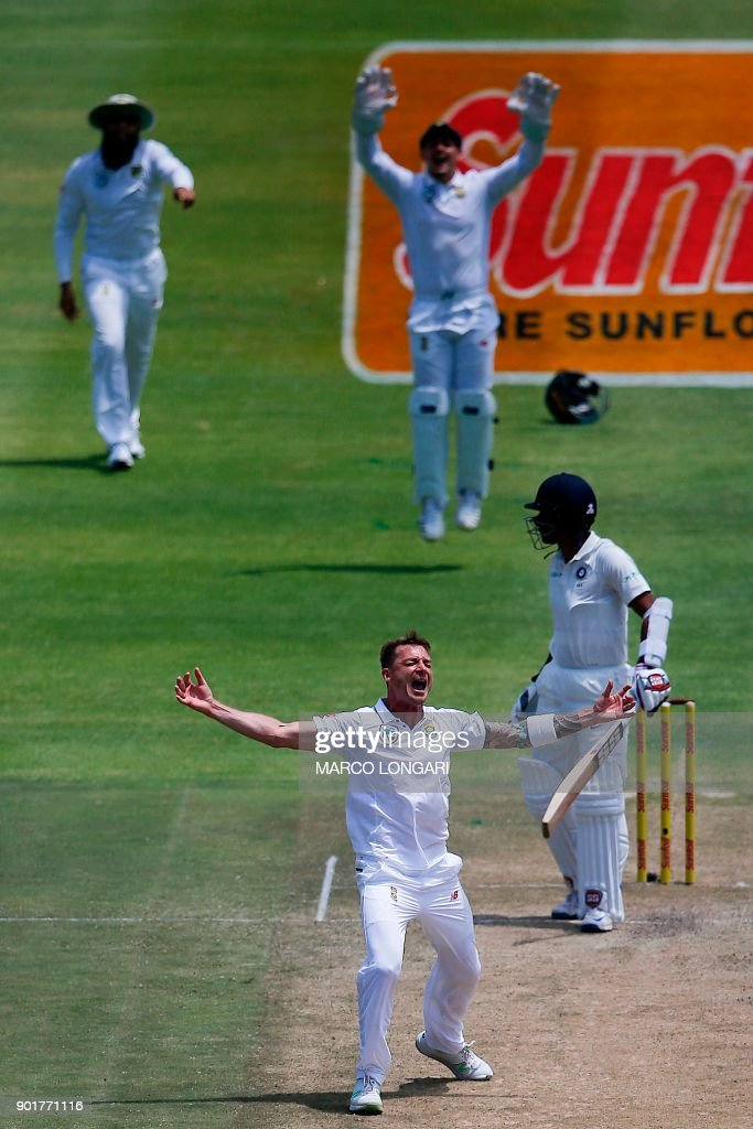 South Africa bowler Dale Steyn celebrates the dismissal of India batsman Wriddhiman Saha during the second day of the first Test cricket match between South Africa and India at Newlands cricket ground on January 6, 2018 in Cape Town, South Africa. /