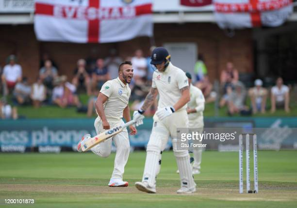 South Africa bowler Dane Paterson celebrates his first test wicket of Ben Stokes of England during Day Two of the Third Test between South Africa and...