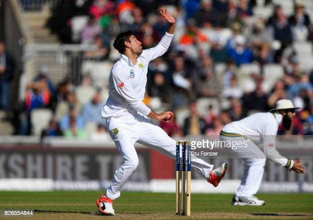 South Africa bowler Duanne Olivier in action during day one of the 4th Investec Test match between England and South Africa at Old Trafford on August...