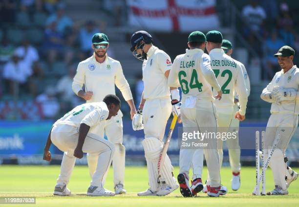 South Africa bowler Kagiso Rabada celebrates after bowling England batsman Joe Root during Day One of the Third Test between England and South Africa...