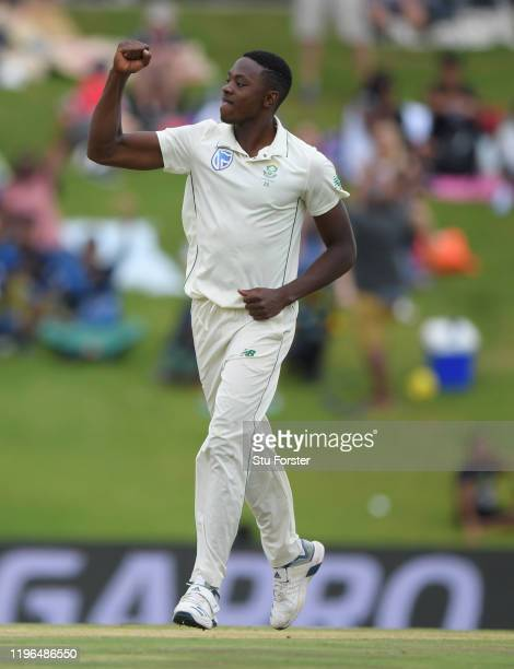 South Africa bowler Kagiso Rabada celebrates after dismissing Jonny Bairstow during Day Four of the First Test match between England and South Africa...