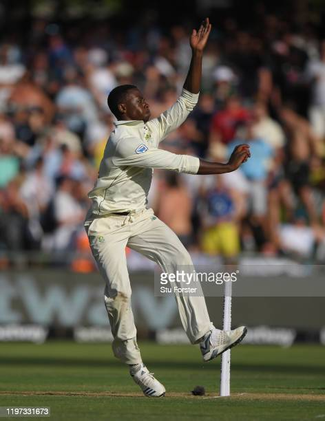 South Africa bowler Kagiso Rabada in action during Day One of the Second Test between England and South Africa on January 03, 2020 in Cape Town,...