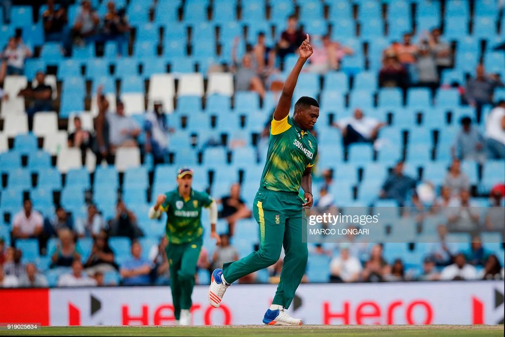 South Africa bowler Lungi Ngidi celebrates the dismissal of India batsman Rohit Sharma during the sixth One Day International cricket match between South Africa and India at the Super Sport Park in Centurion on February 16, 2018. /