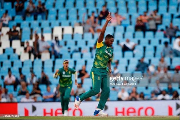 South Africa bowler Lungi Ngidi celebrates the dismissal of India batsman Rohit Sharma during the sixth One Day International cricket match between...