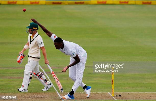 South Africa bowler Lungi Ngidi delivers the ball during day one of the second Sunfoil Test between South Africa and Australia at St George's Park in...