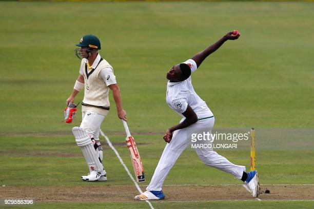 South Africa bowler Lungi Ngidi delivers the ball during day one of the second Sunfoil Test between South Africa and Australia at St GeorgeÕs Park in...