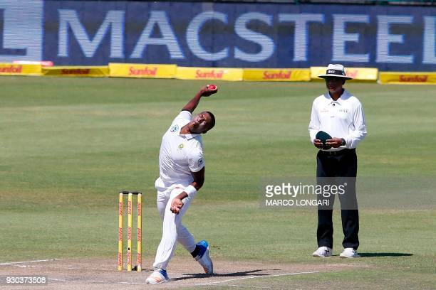 South Africa bowler Lungi Ngidi delivers the ball during day three of the second cricket test match between South Africa and Australia at St George's...