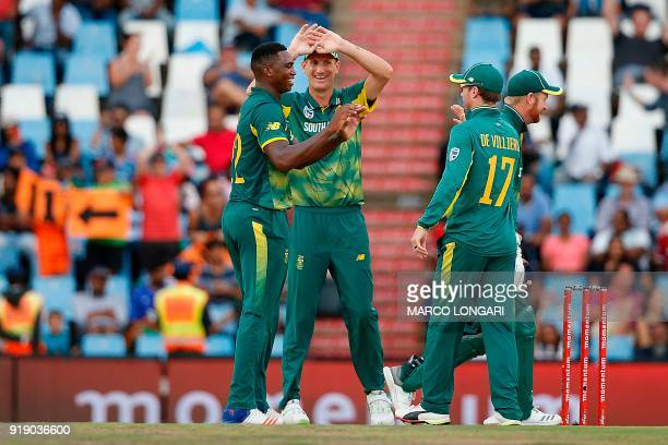 South Africa bowler Lungi Ngidi is celebrated for the dismissal of India batsman Shikhar Dhawan during the sixth One Day International cricket match...