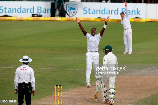 South Africa bowler Lungi Ngidi unsuccessfully appeals for the wicket of Australia batsman Usman Khawaja during day three of the second Test cricket...